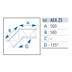 ANGLE 2 DEPARTS 135° LG 0.50X0.50M