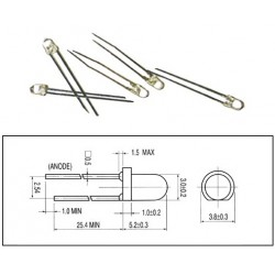 LED BLANCHE 3mm TRANSPARENT 2800mcd 30mA (6080)