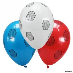 6 BALLONS OPAQUE BLEU, BLANC, ROUGE - BALLON DE FOOT