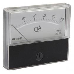 AMPEREMETRE ANALOGIQUE DE TABLEAU 50mA CC / 70X60mm (100150)