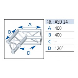 ANGLE 2 DEPARTS 120° LG 0.40X0.40 CM
