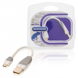 CABLE USB 2.0 A MALE - MICRO USB B MALE 0.10 METRE BLANC