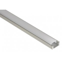 PROFILE EN ALUMINIUM POUR FLEXIBLES LED PLAT DIFFUSEUR TRANSPARENT 2M