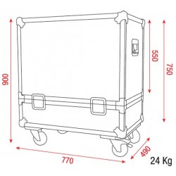 FLIGHT CASE SUR ROULETTES 770 x 490 x 900 mm
