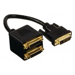 CABLE REPARTITEUR DVI-D 24+1 broche MALE > 2 DVI-D FEMELLE 20 CM